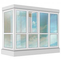Остекление балкона ПВХ Veka в пол с отделкой ПВХ-панелями без утепления 3.2 м П-образное