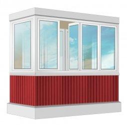 Остекление балкона ПВХ Rehau с отделкой вагонкой без утепления 2.4 м П-образное