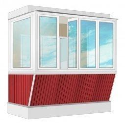 Остекление балкона ПВХ Rehau с выносом и отделкой вагонкой без утепления 2.4 м П-образное