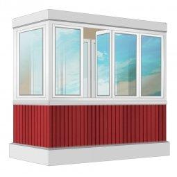 Остекление балкона ПВХ Exprof с отделкой вагонкой без утепления 2.4 м Г-образное