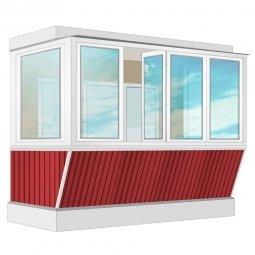 Остекление балкона ПВХ Exprof с выносом и отделкой вагонкой с утеплением 3.2 м П-образное