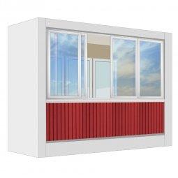 Остекление лоджии Алюминиевое Provedal с отделкой ПВХ-панелями без утепления 3 м прямое