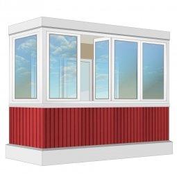 Остекление балкона ПВХ Exprof с отделкой вагонкой с утеплением 3.2 м Г-образное